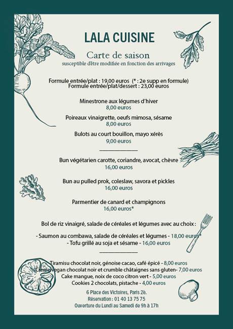 La La Cuisine Menu - Maison Sarah Lavoine